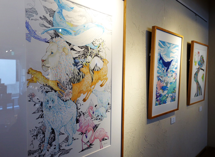 個展『Beautiful』 イラストレーター 真吏奈 marina イラスト 東京渋谷