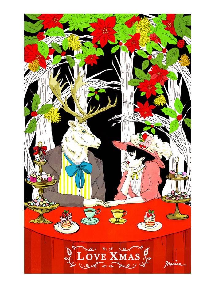 イラストレーター 真吏奈 イラスト アートクリスマス xmas 『ピースクリスマス展・わたしたちの贈り物 vol.8』